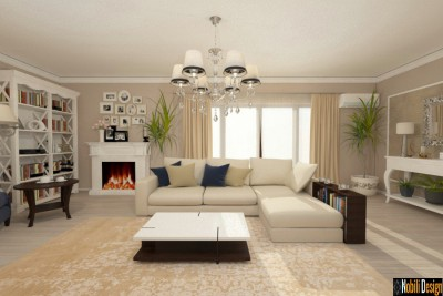 Proiect design interior living casa stil clasic in Bistrita